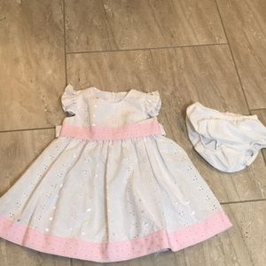 Iris & Ivy white eyelet dress and diaper cover